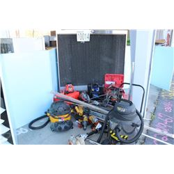 VACUUMS, GRINDERS, DRILLS, CHAIN SAW, BAND SAW, BATTERY CHARGER, LEVEL, EVAPORATIVE COOLING FAN, PRU