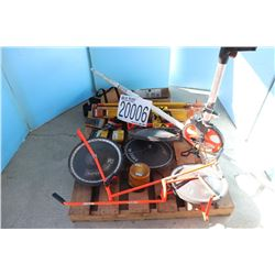MISC SURVEYING EQUIPMENT/ MEASURING WHEELS, RANGE FINDER METER, PRISM, MULTIMETER, LEVELING ROD