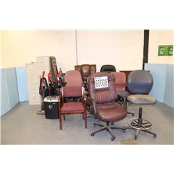 CHAIRS, VACUUMS, FILE CABINETS, SHREDDER