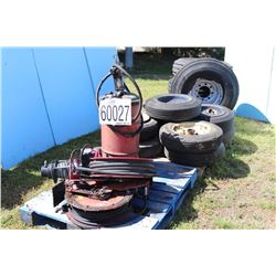 TIRE RIMS, LUBE REELS, OIL PUMP, WINCH