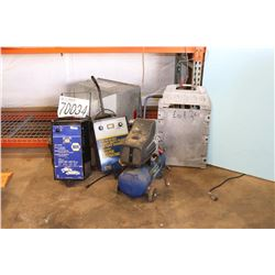 BATTERY CHARGERS, AIR COMPRESSOR, SPREADER, PORTABLE WHEEL SCALE