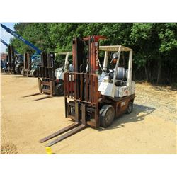 NISSAN KCPH02A25PV FORKLIFT, VIN/SN:904893 -TRIPLE STAGE, LP GAS, METER READING 6,828 HOURS