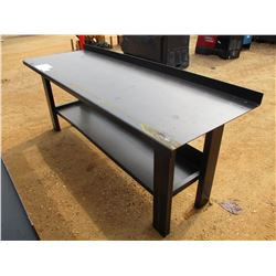 "29"" X 90"" METAL WORK TABLE W/SHELF"