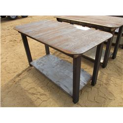 "STEEL TABLE, - W/SHELF, 29"" X 57"""