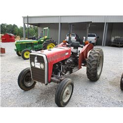 MASSEY FERGUSON 240 FARM TRACTOR, VIN/SN:P38145 - 3 PTH, PTO, ROLL BAR, 13.6-28 TIRES, METER READING