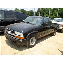 2002 CHEVROLET S10 PICKUP, VIN/SN:1GCCS195028134717 - EXT CAB, LWB, GAS A/T, ODOMETER READING 160,15
