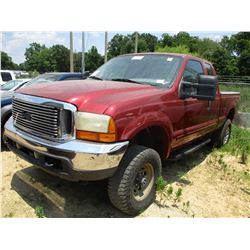 2001 FORD F250 PICK UP. VIN/SN:1FTNX21S21EA64994 - 4X4, EXT CAB, V8 GAS ENGINE, A/T, ODOMETER READIN