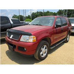 2004 FORD EXPLORER SUV, VIN/SN:1FMZU63K44UB08126 - GAS ENGINE, A/T, ODOMETER READING 175,294 MILES