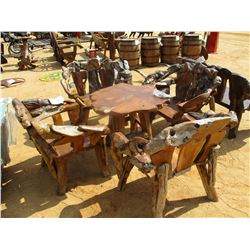 TEAK WOOD TABLE W/FOUR CHAIRS