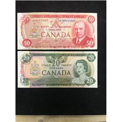 BANK OF CANADA $20 AND $50 LOT OF 2 NOTES!