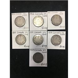 CANADA 50 CENTS LOT OF 7 COINS!