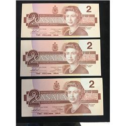1986 BANK OF CANADA $2 REPLACEMENT NOTES! 3 IN SEQUENCE!