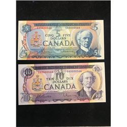 $5 & $10 BANK OF CANADA LOW SERIAL NUMBER MATCHING SET! 0000566…RARE!