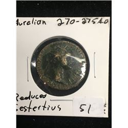 270-275A.D ANCIENT ROME,AURELIAN BRONZE REDUCED SESTERTIUS