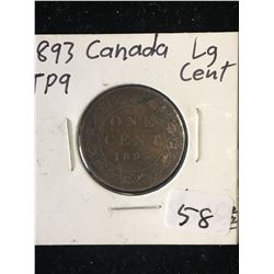 1893 CANADA LARGE CENT! TRIPLE PUNCHED 9! RARE!!