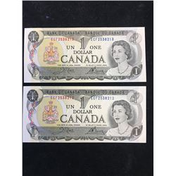 1973 BANK OF CANADA $1 NOTES! 2 IN SEQUENCE! GEM UNC!