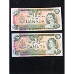 1979 BANK OF CANADA $20 NOTES! 2 IN SEQUENCE!