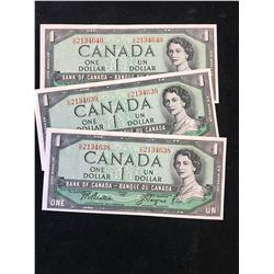 1954 BANK OF CANADA $1 NOTES ..3 IN SEQUENCE