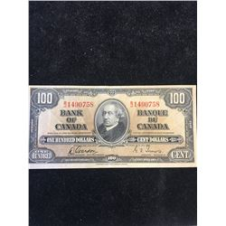 1937 BANK OF CANADA $100 NOTE!
