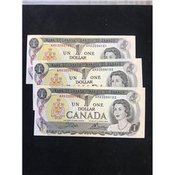 1973 BANK OF CANADA $1 NOTES..3 IN SEQUENCE!