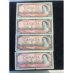 1954 BANK OF CANADA $2 NOTES!