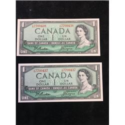 1954 BANK OF CANADA $1 NOTES ..2 IN SEQUENCE