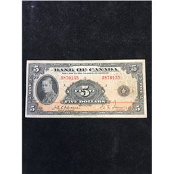 1935 BANK OF CANDA $5 NOTE!ENGLISH TEXT!