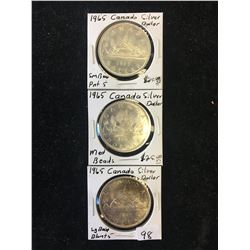1965 CANADA SILVER DOLLAR LOT! 3 VARIETIES!SM,MED,LG BEADS!!