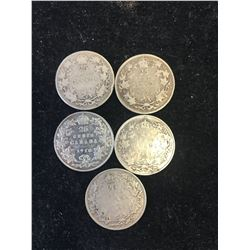 1906-1936 CANADA 25 CENTS LOT OF 5 COINS!