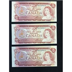 1974 BANK OF CANADA $2 REPLACEMENT NOTES! 3 IN SEQUENCE!