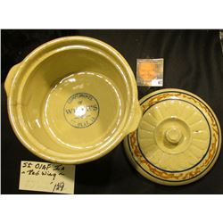 """Covered Casserole Pot """"Made in Red Wing"""", """"Compliments of Wilke's St. Olaf, Ia."""", lid perfect, pot h"""
