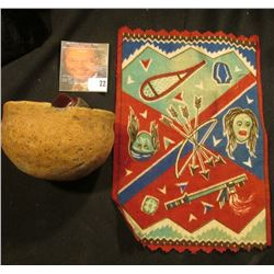 Old tobacco Flannel with Indian Motif and an excavated Indian Pot with museum number 6172.