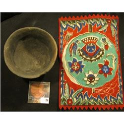 Tobacco Flannel with South American Indian Motif and an excavated Indian Pot, most likely Pre-Columb
