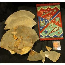 Large Group of Native American Pottery Shards & Old tobacco Flannel with Indian Motif