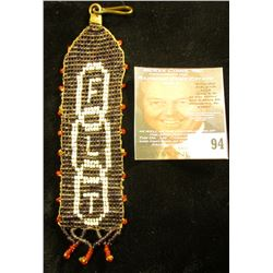 """Fraternal Indian Beaded Watch Fob. """"FLT"""" 'Doc' valued at $45.00."""
