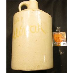"White Stoneware Whiskey Jug penciled on bottom ""of the Gov. Doeliner collection""??? 7 1/2"" x 4 1/4""."