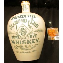 "White Stoneware Whiskey Jug with gold trim and blue lettering ""Meridith's Diamond Club Trade Mark Pu"