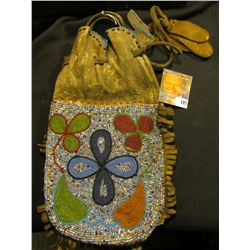 "12"" X 7"" Indian Flower Design Beaded Bag with Colorful Flower Design."