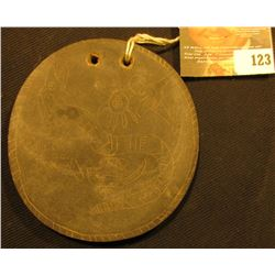 "4"" circular Carved Slate, which 'Doc' attributed to Northern Alabama. two holes for suspension, depi"