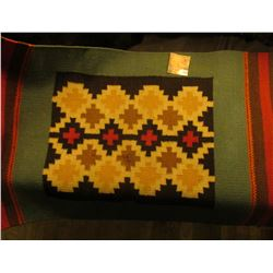 "Indian Woven Table Top style Blanket, which 'Doc' valued at $195.00. Measures 26"" x 16 1/4""."