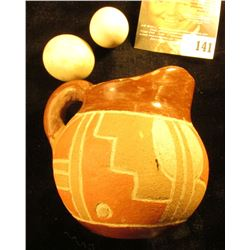 Native American Style Miniature Clay Pitcher; & a pair of Pioneer fired Clay marbles.