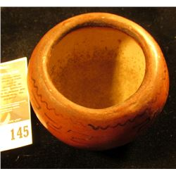 "2 1/4"" Red-brown glazed Indian Bowl."
