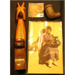 "Small Wooden Totem Pole; postcard ""Maria, The Pottery Maker""; and a fluted Clay Indian Trade Pipe."