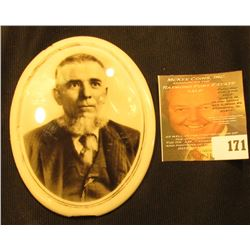 "3 1/8"" x 4"" Porcelain Cameo Portrait of an ole Pioneer with a gray goatee, some chips to bottom and"