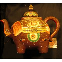 "Hand painted Japan Ornate Elephant Decanter with lid. Inlaid, excellent condition. 7"" x 9""."