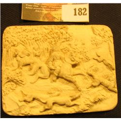 "Alabaster Style Inset measuring 2 3/8"" x 3"" Hunting Scene."