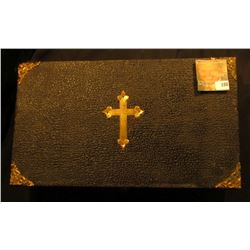 "13"" x 7.5"" x 3"" Leather-bound Box with Brass Cross, hinges, and etc. containing a Spoon, Wooden cros"