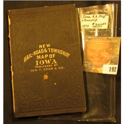 "1871 leather bound Map ""New Rail-Road & Township Map of Iowa Published by Geo. F. Cram & Co."", 'Doc'"