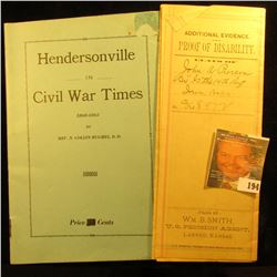 "Civil War Booklet ""Hendersonville in Civil War Times 1860-1863"" by Rev. N. Collin Hughes, D.D. ""As w"