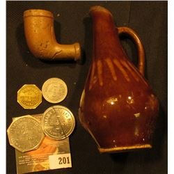 "Miniature Stoneware Brown Pitcher, 4 1/4""; Clay Indian Trade Pipe; & (4) Different Old Good For Toke"